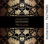 vintage baroque wedding... | Shutterstock .eps vector #761746081