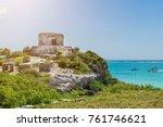 mayan ruins of tulum. tulum... | Shutterstock . vector #761746621