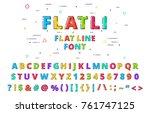 flatli. flat line font. latin... | Shutterstock .eps vector #761747125