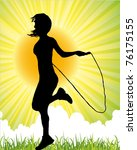 girl jumping with the skipping... | Shutterstock .eps vector #76175155