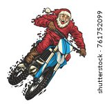 dirty santa riding motocross | Shutterstock .eps vector #761752099