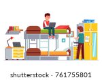 Student Sitting On Bunk Bed...