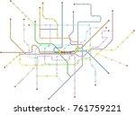 fictional vector subway map ... | Shutterstock .eps vector #761759221