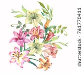 watercolor flowers composition... | Shutterstock . vector #761770411