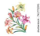 flowers bouquet of watercolor... | Shutterstock . vector #761772391