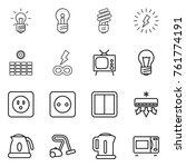thin line icon set   bulb ... | Shutterstock .eps vector #761774191