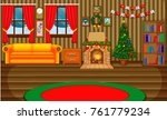 christmas living room with a... | Shutterstock . vector #761779234