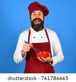 man or hipster with beard holds ... | Shutterstock . vector #761786665