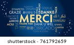 french thank you sign with... | Shutterstock . vector #761792659