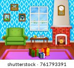 christmas living room with a... | Shutterstock .eps vector #761793391