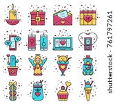 set of love and romantic icons... | Shutterstock .eps vector #761797261