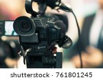 camera at a media conference | Shutterstock . vector #761801245