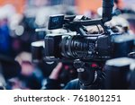 camera at a press conference | Shutterstock . vector #761801251