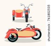 retro red motorcycle vintage... | Shutterstock .eps vector #761802535