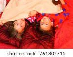 kids in pajamas make faces on... | Shutterstock . vector #761802715
