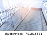 concret ramp way with stainless ... | Shutterstock . vector #761816581