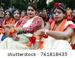 Small photo of DHAKA, BANGLADESH - NOVEMBER 24, 2017: Bangladeshi Third gender people take part in a program during the celebration of International Day for the Elimination of Violence against Women in Dhaka.