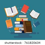 concept of graduation. books.... | Shutterstock .eps vector #761820634