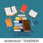 concept of graduation. books.... | Shutterstock .eps vector #761820634