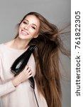 portrait of beautiful happy... | Shutterstock . vector #761822305
