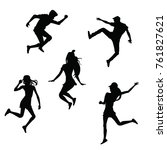 people jumping silhouette   Shutterstock .eps vector #761827621