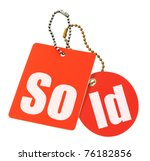 sold concept - price tags isolated on pure white background - stock photo