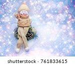 happy snowman on branch of tree ... | Shutterstock . vector #761833615