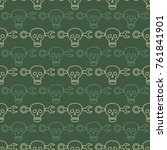 seamless pattern with skulls... | Shutterstock .eps vector #761841901