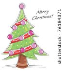 Hand drawn looking christmas tree with ornaments