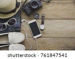 travel accessories costumes....   Shutterstock . vector #761847541