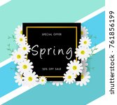 spring sale background with... | Shutterstock .eps vector #761856199