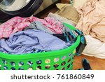 green plastic basket with... | Shutterstock . vector #761860849