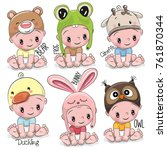 set of cute cartoon babies in... | Shutterstock .eps vector #761870344