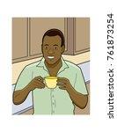 african american man drinking...   Shutterstock .eps vector #761873254