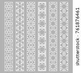 vector set of line borders with ... | Shutterstock .eps vector #761876461