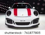 Small photo of GENEVA, SWITZERLAND - MARCH 1, 2016: New 2017 Porsche 911 R sports car showcased at the 86th Geneva International Motor Show.