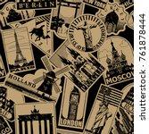 vintage paper landmarks travel... | Shutterstock .eps vector #761878444