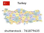 flag and map of turkey with the ... | Shutterstock .eps vector #761879635