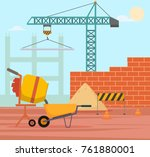 construction site with crane | Shutterstock .eps vector #761880001