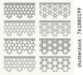 set of black seamless borders ... | Shutterstock .eps vector #761880199