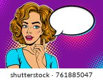 wow female face. young sexy... | Shutterstock .eps vector #761885047