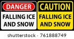 falling ice and snow  danger or ... | Shutterstock .eps vector #761888749