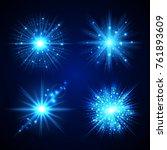 set of blue flash stars on dark ... | Shutterstock .eps vector #761893609