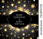 christmas card with label and... | Shutterstock .eps vector #761893735