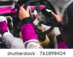 go kart drivers shot from the... | Shutterstock . vector #761898424
