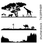 set of silhouettes of the taiga ... | Shutterstock .eps vector #761899489