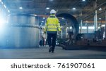 industrial engineer in hard hat ... | Shutterstock . vector #761907061