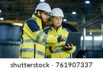 male and female industrial... | Shutterstock . vector #761907337