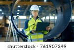 female industrial engineer in... | Shutterstock . vector #761907349