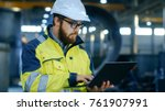 industrial engineer in hard hat ... | Shutterstock . vector #761907991